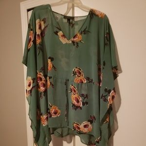 Lane Bryant Sheer Green flowered blouse